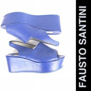 FAUSTO SANTINI Italian Blue Wedge Platform Sandals